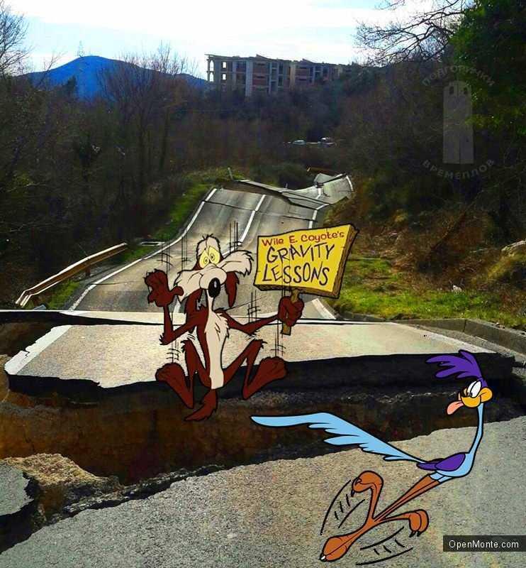 Проживание в Черногории: Видео с разрушенной дороги Будва-Цетинье: впечатляет