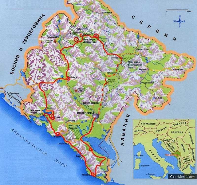 О Черногории: расположение Черногории на карте